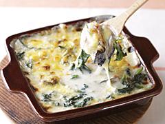 ほうれん草と牡蠣のチーズグラタン
