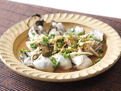 蒸し牡蠣のねぎぽん酢